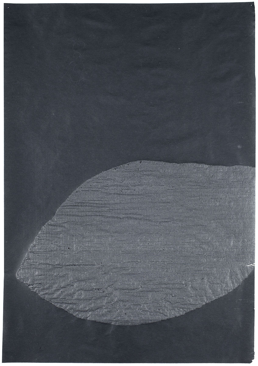 Typed colons on carbon paper. 10 ¾ x 7 ⅛ inches.